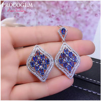 5A Natural Sri Lanka Sapphire Jewelry sets for Women Party gifts with more Real gemstones 925 Sterling Silver Free shipping #498