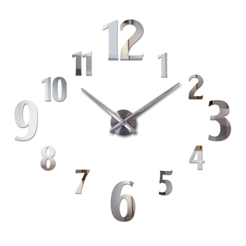 nové nástěnné hodiny akrylové zrcadlové hodiny reloj de pared quartz hodinky horloge domácí obývací pokoj moderní vinobraní diy 3d samolepky