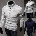 2015 nova marca de moda de gola alta pulôver dos homens de malha Slim fit roupas Outerwear M-XXL