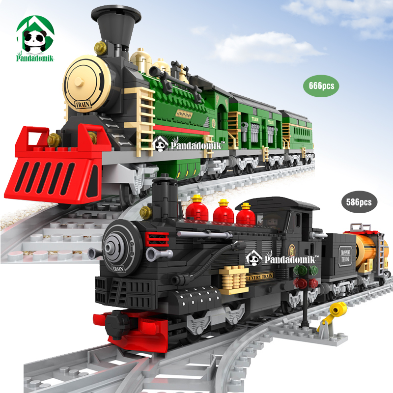 Classic Train Railway 666Pcs Models Building Blocks Toy Learning Education Toys for Children Ausini Bricks Compatible lepin new idea gift solar energy blocks toy transfer boat car train electric toys for children education diy game tool bricks outdoor