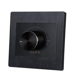 Image 2 - 86 نوع أسود باهتة التبديل لوحة الجدار 220 فولت 450 واط ستبليس التبديل باهتة مصباح وهاج