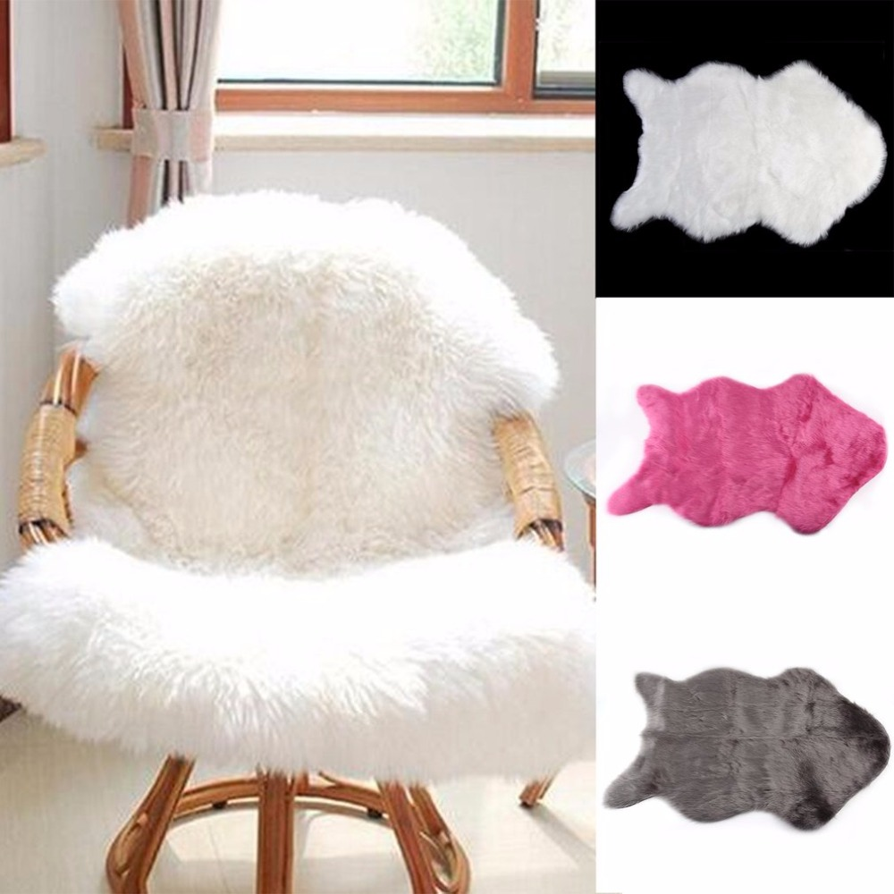 60x40cm Super Soft Faux Sheepskin Washable Carpet Warm Hairy Seat Pad Fluffy Rugs Faux Fur Mats For Floor Chairs Sofas Cushions ...