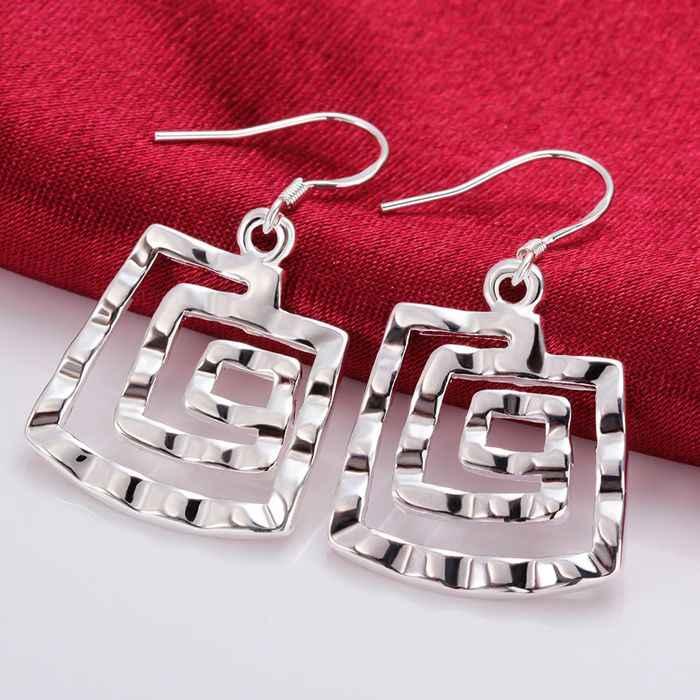 Gratis Pengiriman!! Grosir Berlapis Perak Anting-Anting, 925 Perhiasan Perak, Persegi Benang Anting-Anting SMTE344