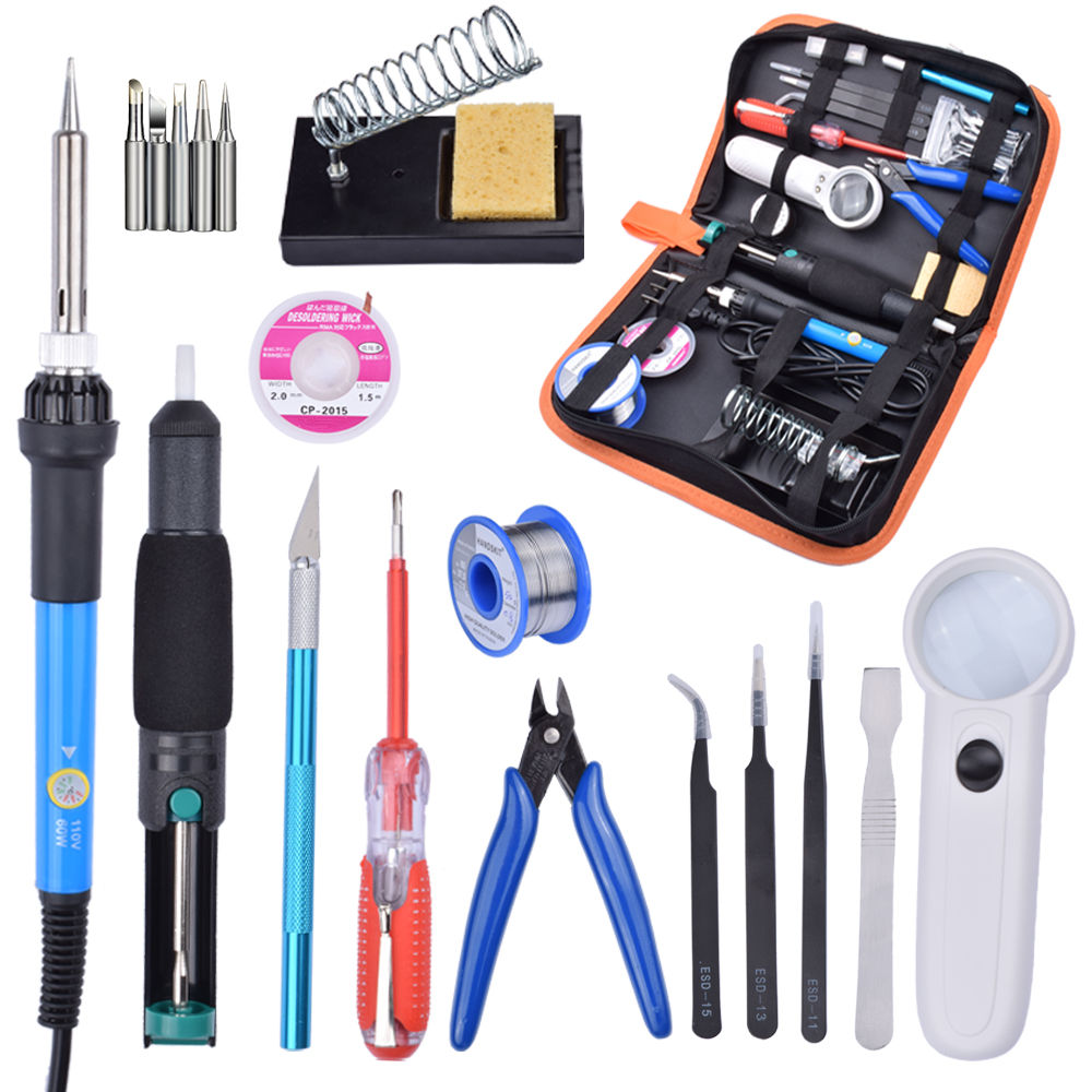 60W 220V Adjustable Temperature Soldering Iron Tools Kit+5 Tips with Desoldering Pump Soldering Iron Stand Tweezer magnifier цена