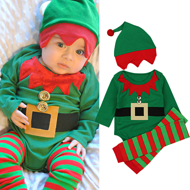 2500f2acf061 2018 Autumn and Winter Baby Boys Clothing Sets Newborn Baby Girls Christmas  Romper Striped Leggings Hat 3Pcs Outfits Set Costume