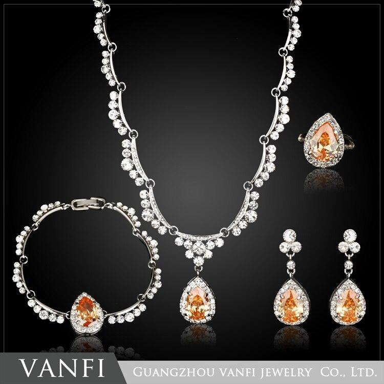 Kfvanfi strass champagne cristal ensembles de bijoux pour les femmes goutte d'eau en forme d'or blanc couleur bijoux pour fête de mariage