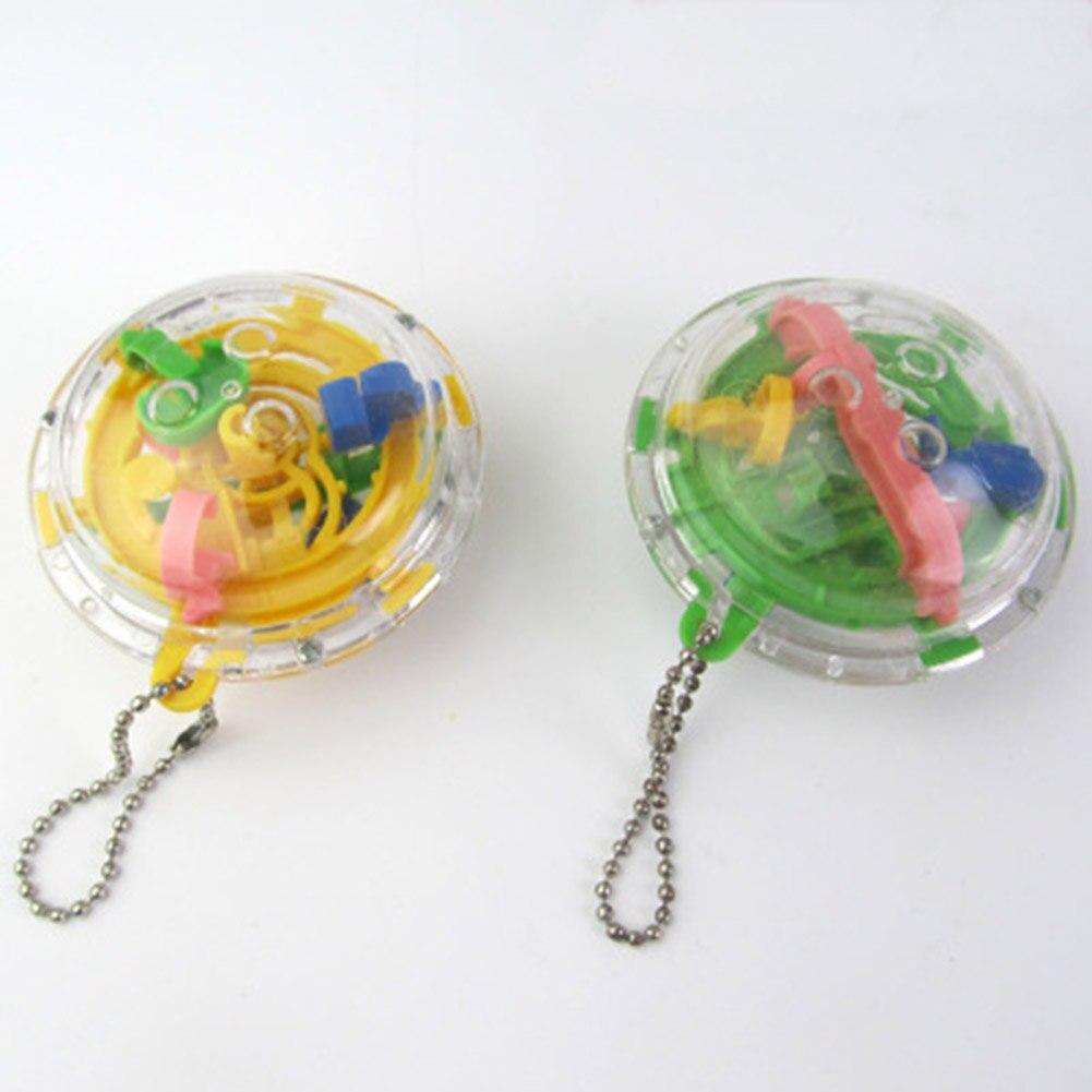 Hot Plastic Mini 3D Magic Rolling Ball Maze Cube Kids Adult IQ Training Portable Key Chain