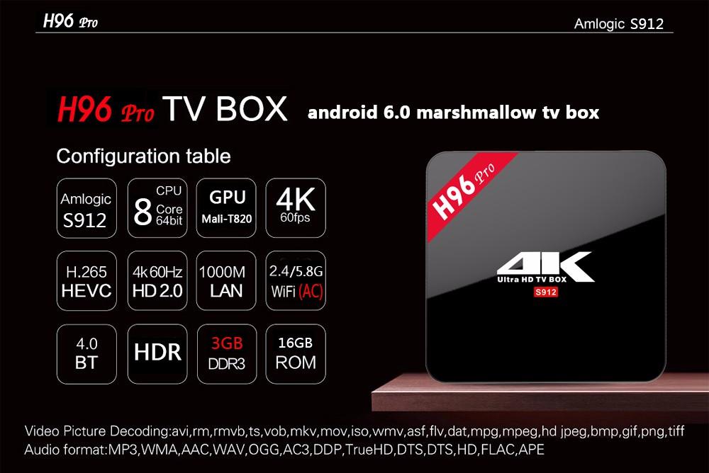 h96 pro S912 TV BOX