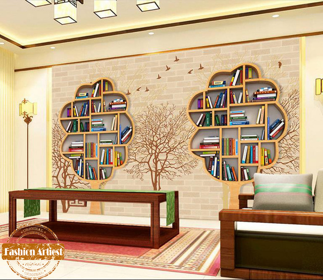 Custom Modern 3d Creative Book Shelf Wallpaper Mural Book Cabinet Birds  Tree Tv Sofa Bedroom Living