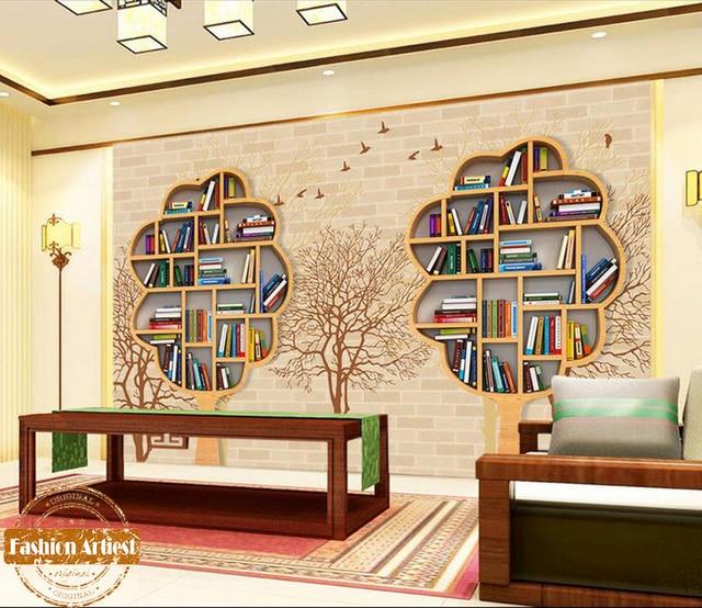 Custom Modern 3d Creative Book Shelf Wallpaper Mural Book Cabinet Birds  Tree Tv Sofa Bedroom Living