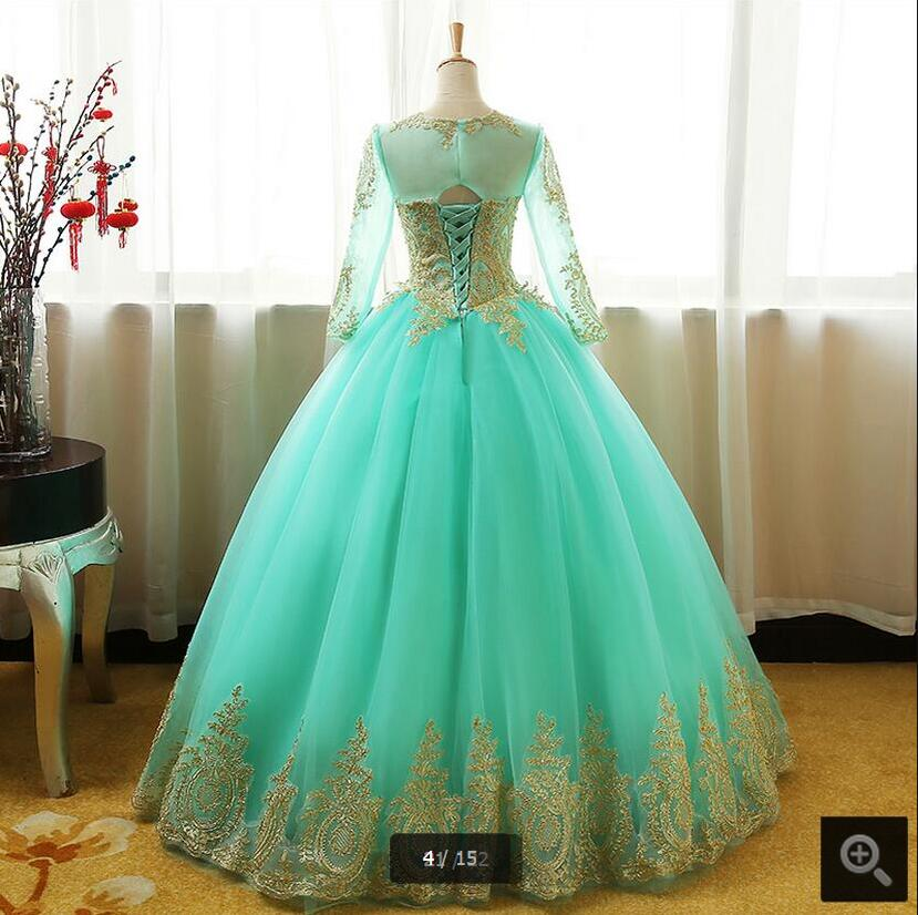 Fancy ball gown long sleeve gold lace wedding dress scoop neck ...