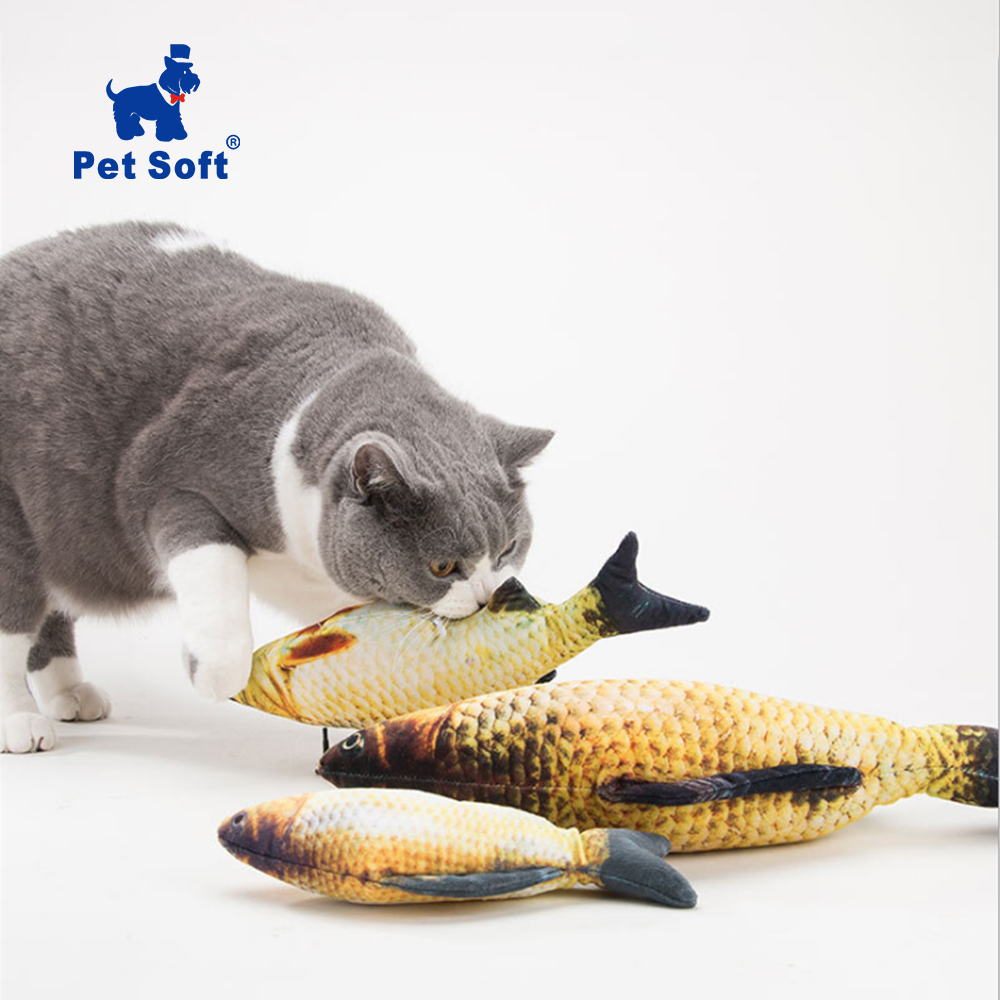 Pet Soft Plush Creative 3D Carp Cat Toy Catnip Toy For