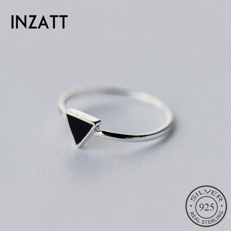 INZATT אמיתי 925 סטרלינג כסף גיאומטרי שחור אמייל משולש OL מתכוונן טבעת מינימליסטי תכשיטים לנשים מפלגה מתנות