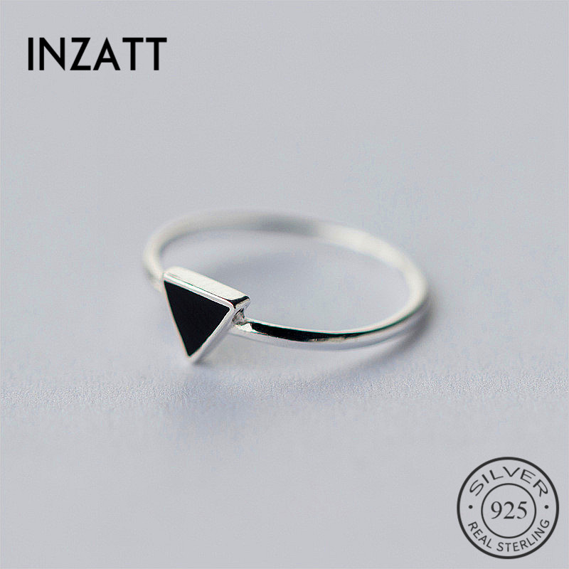 INZATT Real 925 Sterling Silver Geometric Black Enamel Triangle OL Adjustable Ring Minimalist Fine Jewelry For Women Party Gift