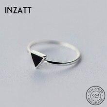cc07fc494b39 INZATT Real 925 Plata de ley geométrica negro esmalte triángulo OL anillo  ajustable minimalista joyería fina para mujer regalo d.