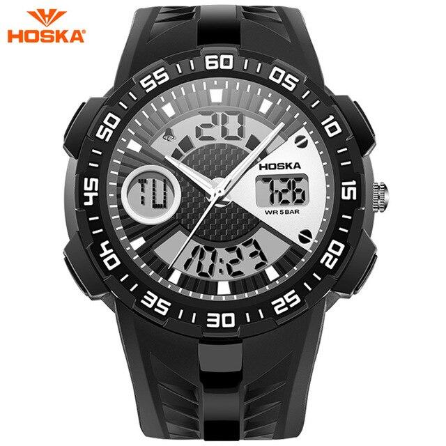 2017 Новый HOSKA Мода Светодиодный Цифровой Кварцевые Часы Мужчины Военный Спортивные Часы Водонепроницаемые Мужчины Наручные Часы Relogio Masculino HD029