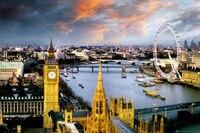24X36 INCH / ART SILK POSTER / LONDON, ENGLAND PHOTOGRAPHY POSTER (BIG BEN, TOWER BRIDGE, LONDON EYE)