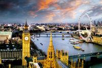 24X36 POUCES/ART SILK AFFICHE/LONDRES, ANGLETERRE-PHOTOGRAPHIE AFFICHE (BIG BEN, TOWER BRIDGE, LONDON EYE)