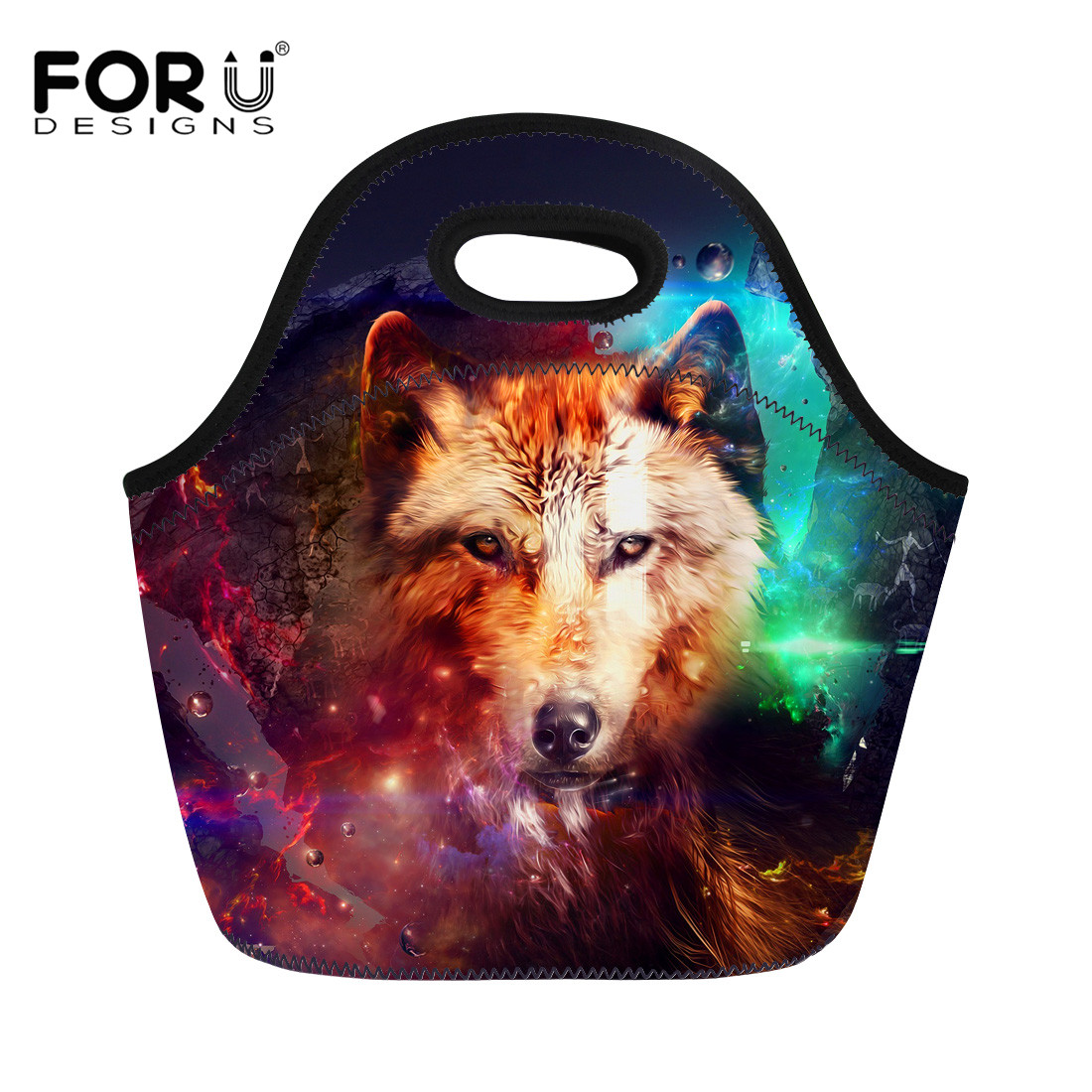 FORUDESIGNS 3D Printing Wolf Lunch Bags Women Thermal Insulated Cooler Pouch Kids Picnic Food Organizer Accessories Supplies