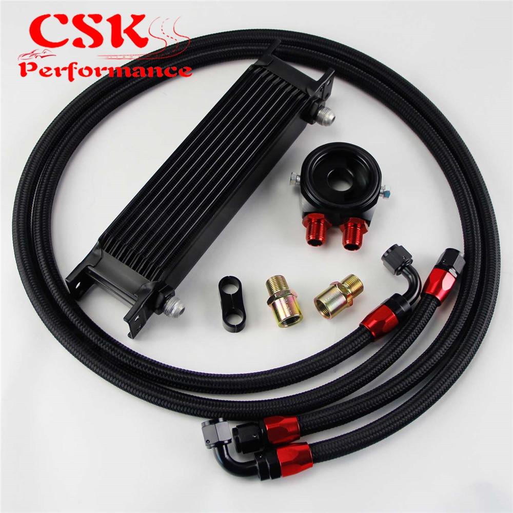 AN8 10 Row 248mm Universal Engine Transmission Oil Cooler British Type + Aluminum Filter Hose End Kit Black/Blue