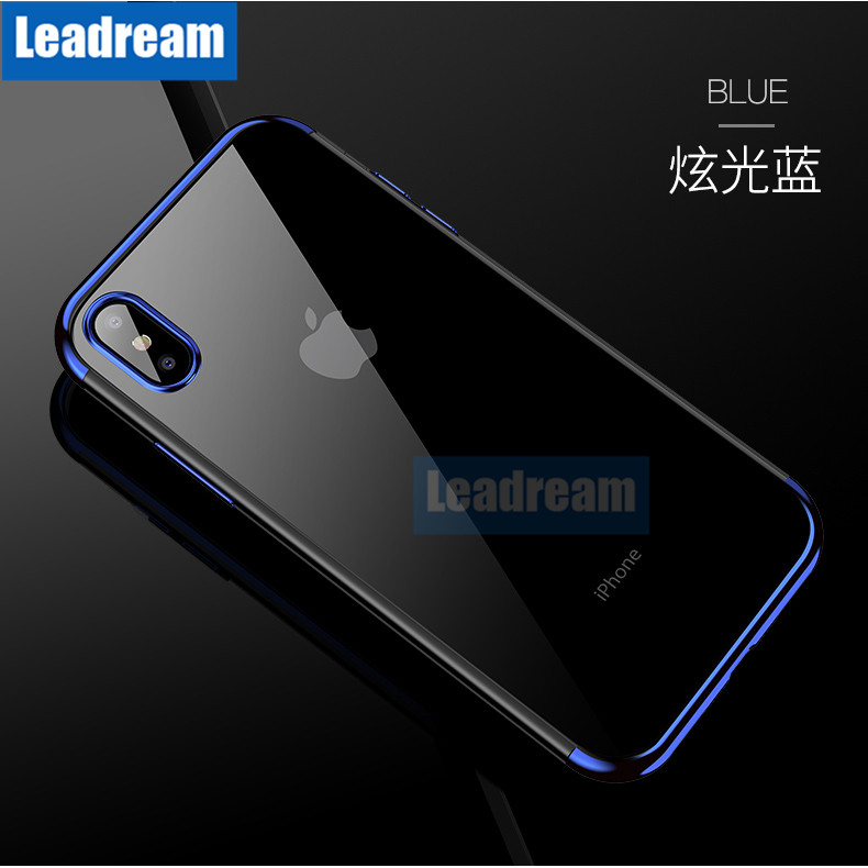 100pcs Transparent Plating Frame Phone Case for iPhone X XS XR XS Max 6 6S 7