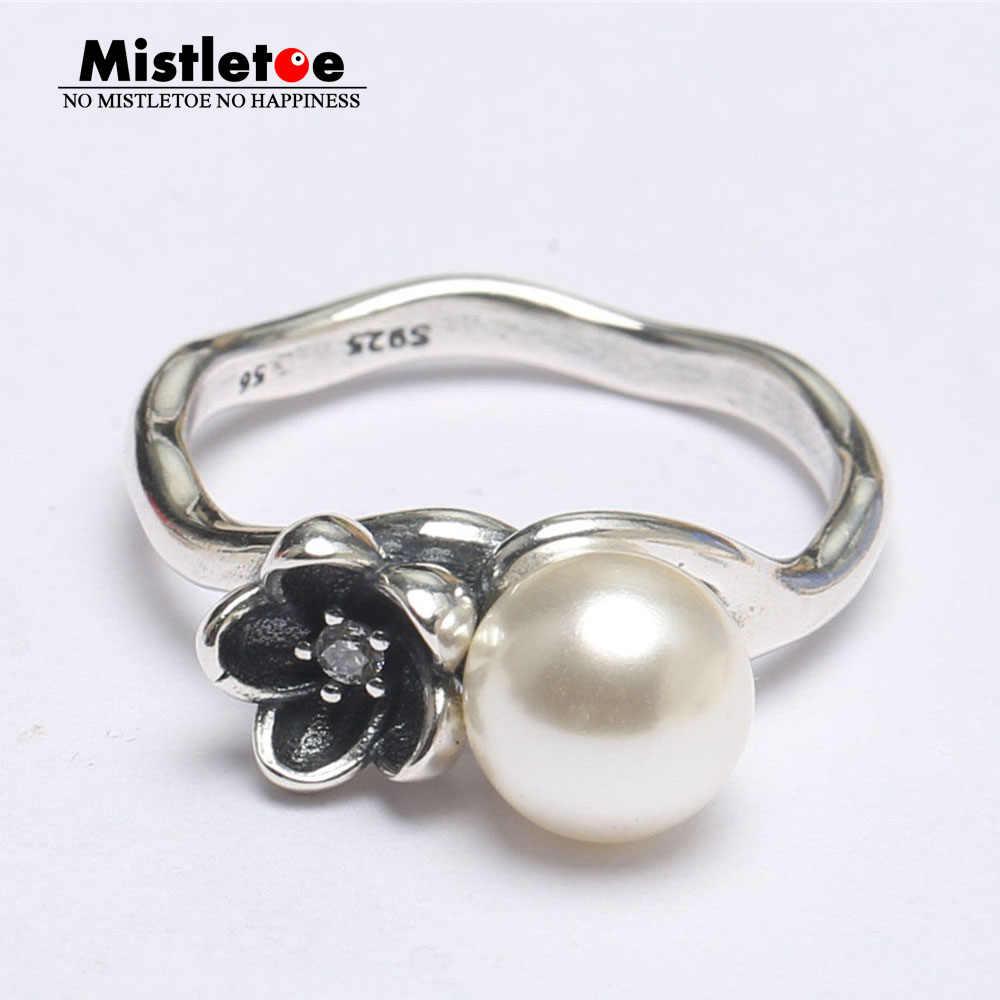 Mistletoe ของแท้ 925 เงินสเตอร์ลิง Mystic แหวนดอกไม้, ไข่มุกและเคลือบสีดำเครื่องประดับยุโรป