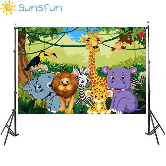 Sunsfun bezszwowe dżungla Safari tematyczne zwierzęta baner urodzinowy zdjęcie tło dziecko dzieci portret tło imprezowe