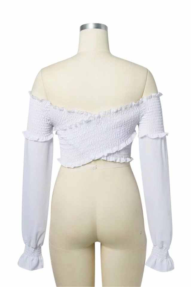 0610f53225650 ... Women Frill Trim Crossover Shirred Crop Top Off The Shoulder Crop Top  with Long Sleeve ...