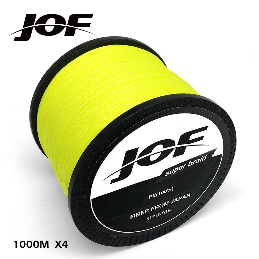 JOF PE Braided Fishing Line Fluorescent Yellow Multifilament Fishing Cord Strong 4 Strands 100M 150M 300M 500M 1000M