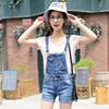 Vintage Detachable Spring Summer Large Size Women Denim Female Bib Short Ovaralls Stretch Flanging Women Rompers