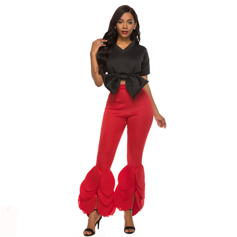 2 Piece Sets Crop Tops Bodycon Pants for Women Short Sleeves Front Bowtie Black Red Suits