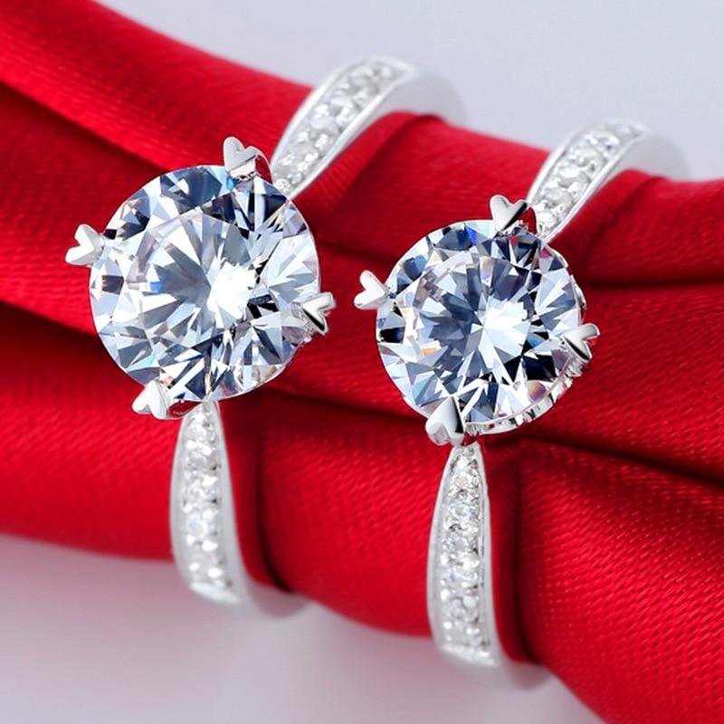 Argent pur 1.5 Carat haute teneur en carbone Diamant synthétique anniversaire mariage argent S925 bagues (JSA) - 3