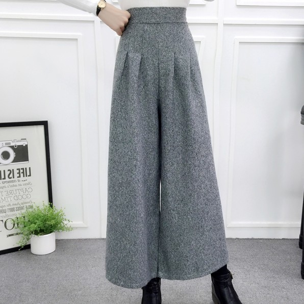 ZHISILAO Loose Trousers Women Winter Warm Wool Wide Leg Pants Maxi Plaid High Waist Trousers Elastic Thick Black Pants Casual 4