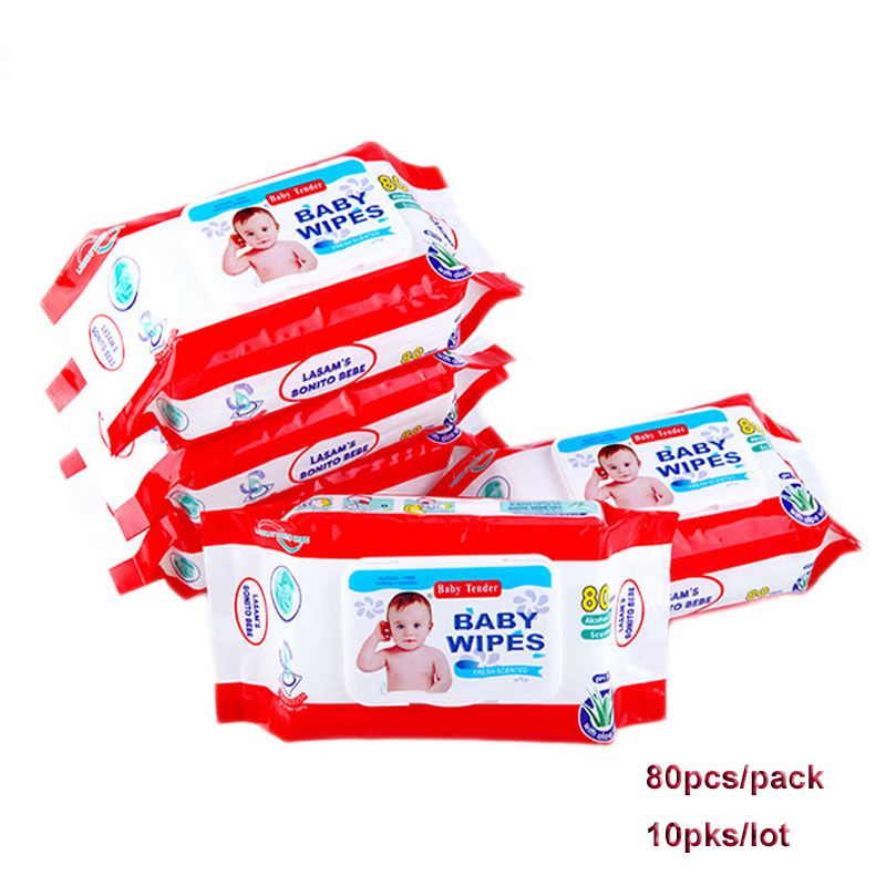 10 packs/lot 80 pcs/pck Non-woven Fabric Portable Wet Wipes Baby Wet Wipes Newborn Hand & Mouth Baby Wipes Travel Wet Wipes