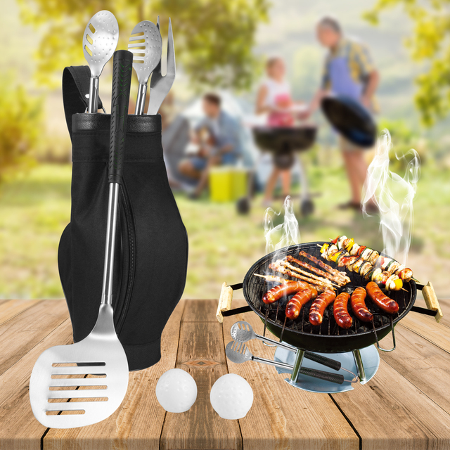 6pcs Set Golf Bbq Grill Tools Stainless Steel Barbecue Utensils Luxury Presrntation Storage Case Accessories