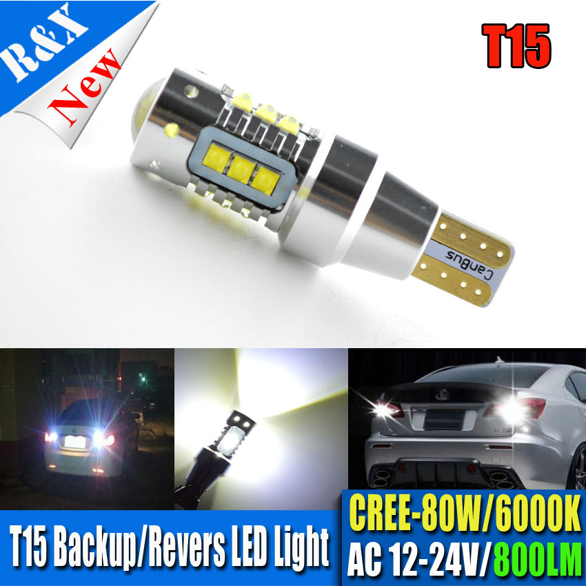 2x80W AC12-24V T15 W16W 921 915 LED <font><b>Light</b></font> Bulbs CANBUS Error Free XBD Chip LED High Power Backup <font><b>Light</b></font> White