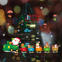 Cartoon Lovely Christmas Wall Sticker Santa Claus Train Picture For Childrens Room Window New Year Decoration Pvc Stickers