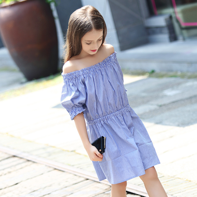 91e9ce48223 Slim Diagonal Stripe Sky Blue Summer Princess Girl Party Dress Off Shoulder  Teenage Dresses Girls Clothes Kids Dress Clothing-in Dresses from Mother    Kids ...