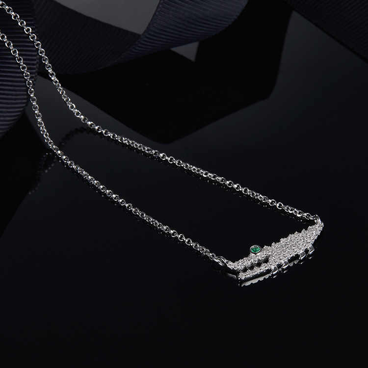תוספות-APM כסף-משובץ פלטינה-זהב תנין עיצוב שרשרת מעניין עצם הבריח שרשרת שרשרת לאישה