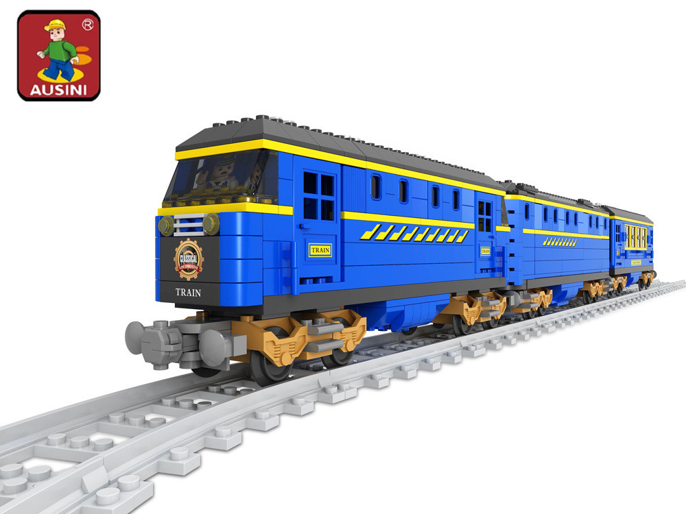 AUSINI 2017 New 25002 Train building blocks train 832pcs Train Bricks Blocks children's DIY educational toys for children туфли детские 25002 р26 кожа карамель розовый ean 4606363295402