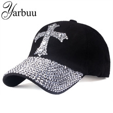 YARBUU Hat Baseball-Cap Rhinestone Cap Sun-Hat Women 100%Cotton Adjustable for The