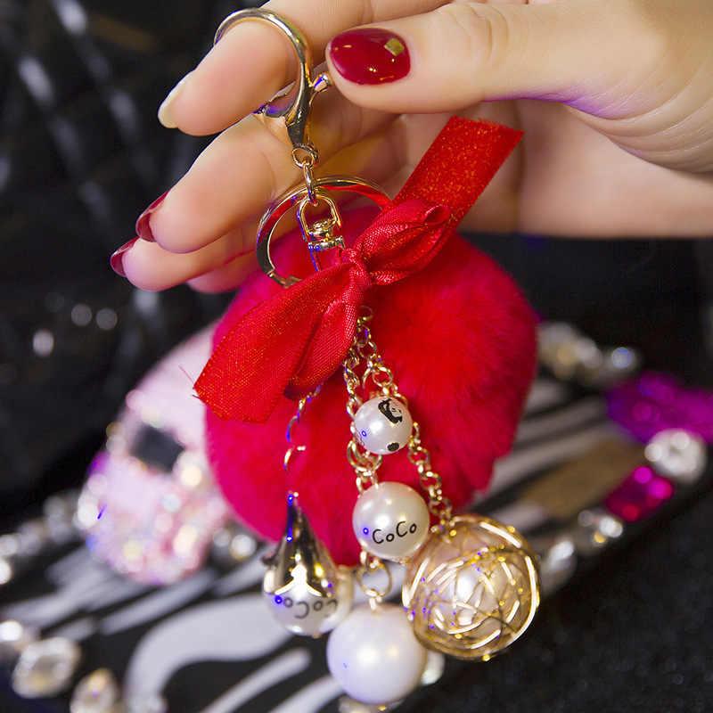 Novo Criativo Ornamento Do Cabelo Do Coelho Rex das Mulheres Chaveiro Chave Anel Chave Da Cadeia de Moda Pérola Das Mulheres Saco Da Forma Pingente