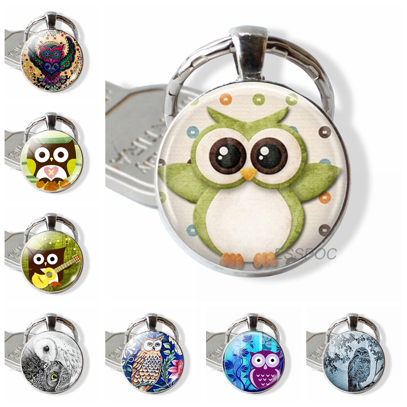 Owl Jewelry Owl Key Rings Owl Key Chains  Glass Gems Bag Pendant Christmas Gift For Women For Men
