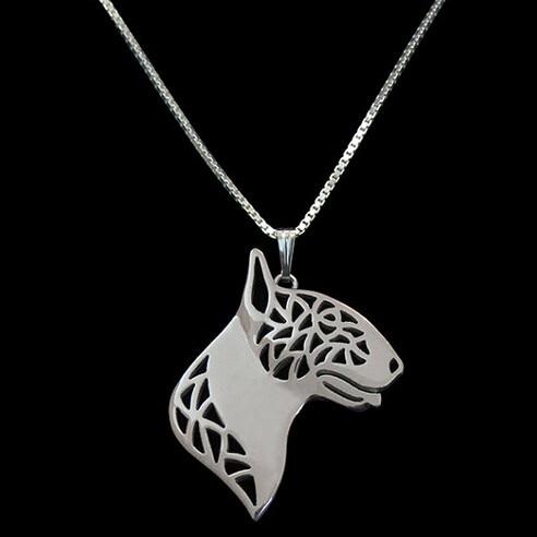 Bull terrier colar bulldog pingente jóias prata/ouro cores chapeado