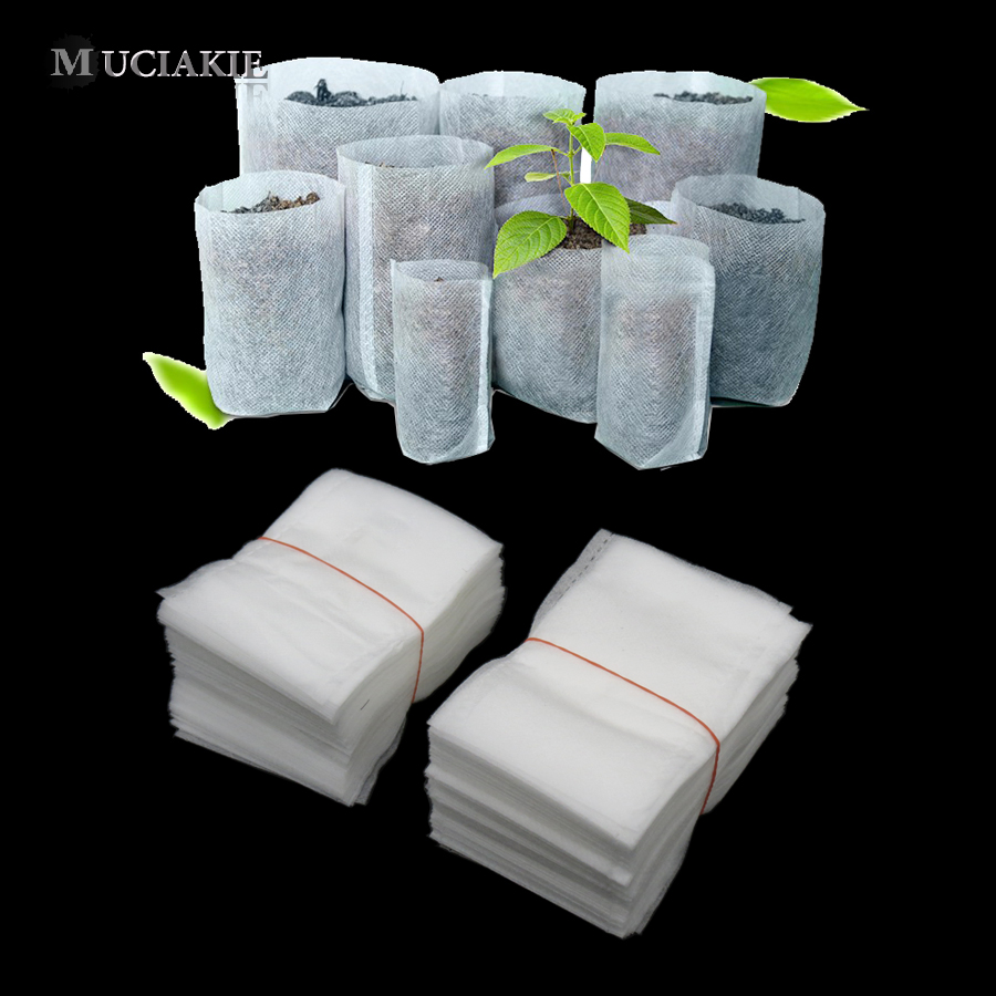 100PCS Different Sizes Mixed Degradable Plant Non-woven Nursery Pots Seedling Raising Bag Plants Garden Supply