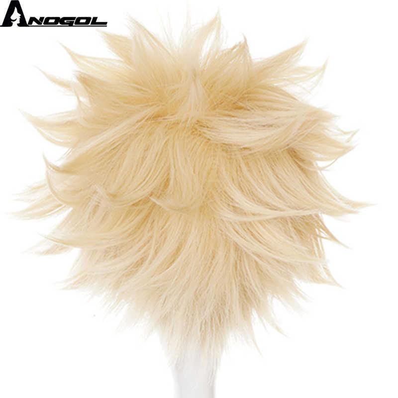 Anogol Anime My Hero Academia Baku No Hero Bakugou Katsuki krótka prosta blond peruka syntetyczna Cosplay na kostium na Halloween