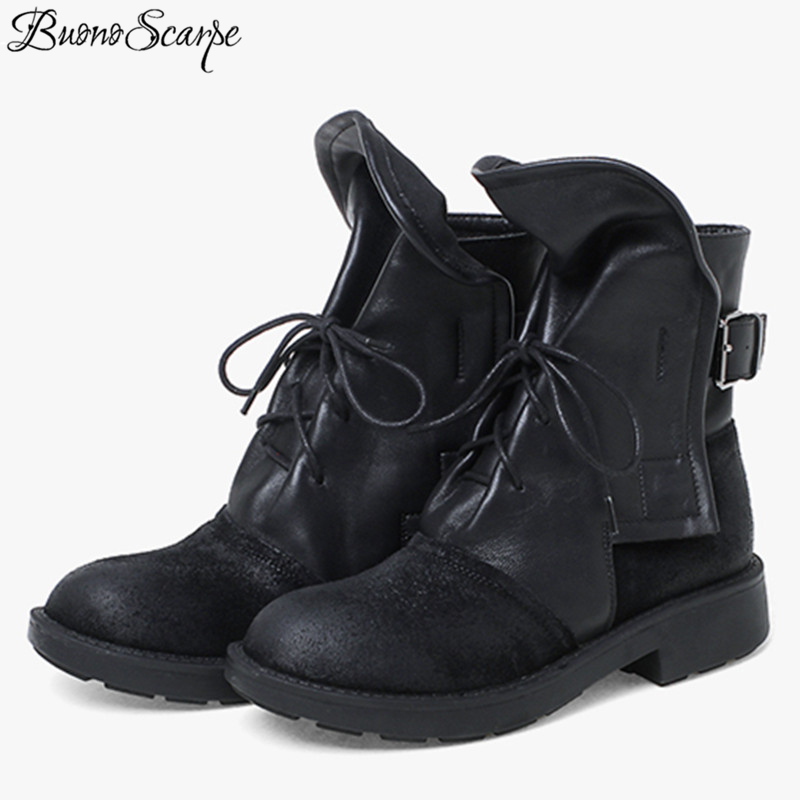 BuonoScarpe British Style Retro Women Heels Boots Patchwork Lace Up Pleated Short Botas Mujer Chunky Heel Girls Ankle Boots Chic british style suede and chunky heel design women s ankle boots