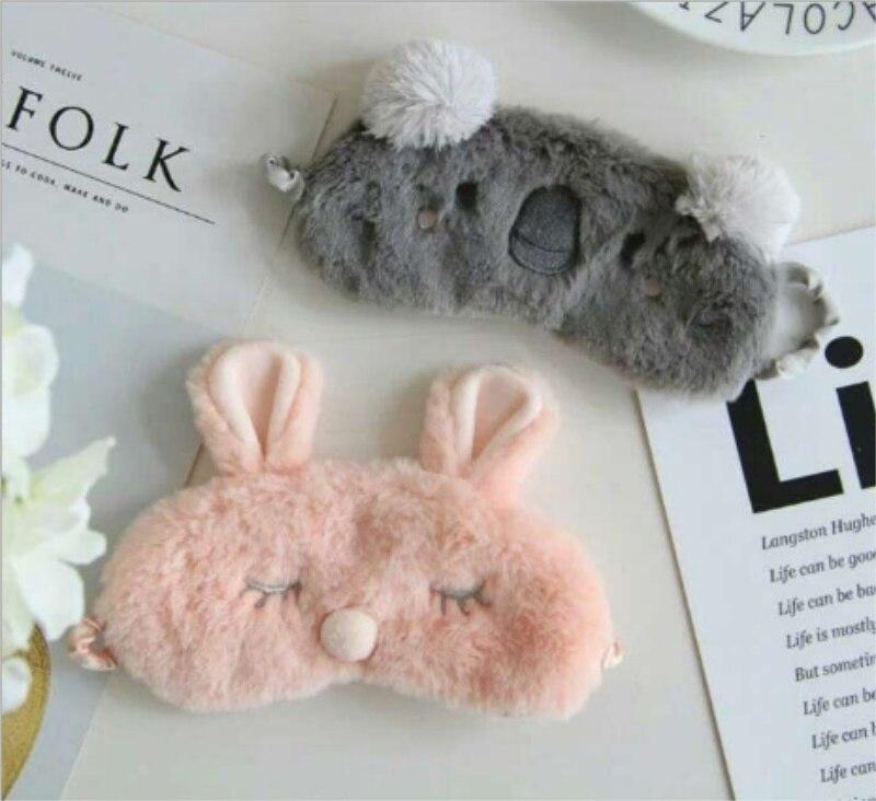 Cut Koala bunny Sleeping Eye Mask Nap Cartoon Plush Eye Shade Sleep Mask Black Mask Bandage