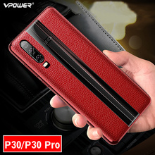 Luxury Genuine Leather Case For Huawei P30 Pro Case P30 Leather + Plexiglass Back Case For Huawei P 30 Pro Protector Cover