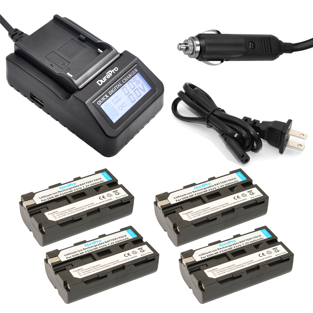 4pc NP-F550 NP-F570 NP F550 F570 Rechargeable Li-ion Battery + LCD Quick Charger for Sony CCD-SC55 CCD-TRV81 DCR-TRV210 MVC-FD81 np fv120 7 4v 4200mah rechargeable li ion battery for sony np fv30 fv50 fv70 more black
